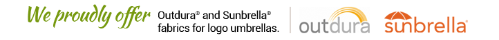 We proudly offer Outdura and Sunbrella fabrics for our logo umbrellas