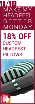 Make My Head Feel Better Monday - 18% Off Custom Headrest Pillows
