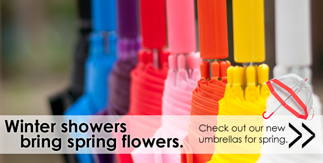 Winter showers bring spring flowers. Shop our new Elite Rain umbrellas for spring.