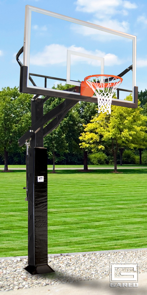 GARED All Pro Jam Adjustable Basketball System with Glass Backboard