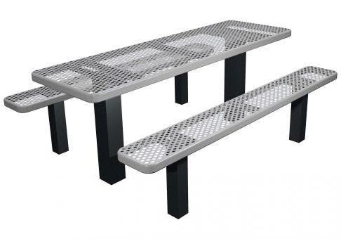 Picnic Table, Commercial Picnic Table, Permanent Mount Picnic Table ·  Expanded Metal ...