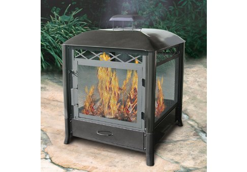 Steel Square Outdoor Fireplace   Commercial Site Furnishings