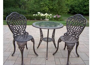Mississippi 3pc Glass Top Bistro Set Antique Bronze