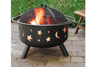 Big Sky Fire Pit Stars & Moons Black