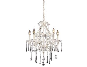 5 Light Chandelier In Antique White And Clear Crystal