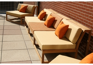 Auburn teak furniture and sunbrella bench cushions