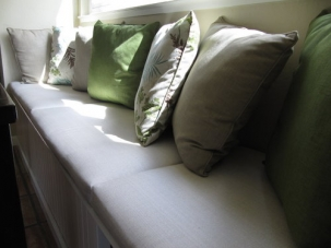 Window Seat Cushion with Throw Pillows