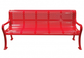 6ft Perforated Roll Form Bench With Arms