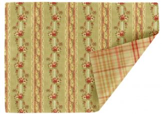 Fowler Stripe Antique Red and Goodwin Plaid Celadon