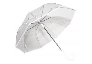Auto-Open Clear Umbrella-White