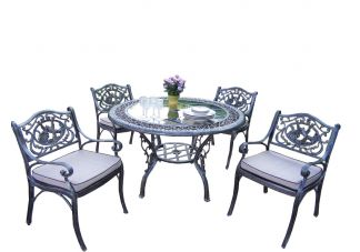 Mississippi Glass Top Hummingbird 5pc Dining Set with Cushions