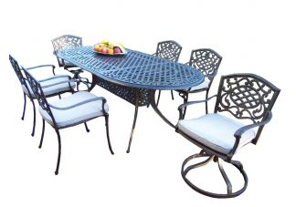 Mississippi Oval 7pc Dining Set with Swivel Chairs