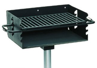 "Commercial Park 2-3/8"" Rotating Flipback Pedestal Grill w/ Post- Black"
