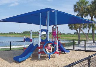 Red, White and Blue Preschool Playground with Canopy