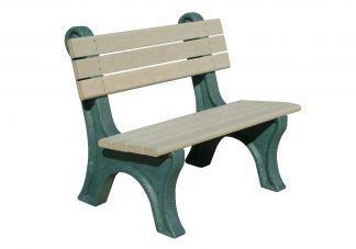 Polly Products Park Classic 4 ft. Backed Bench in Black/Black