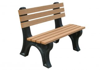 Polly Products Econo-Mizer 4 ft. Backed Bench in Black/Black