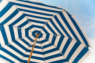 Blue and White Stripe Beach Umbrella