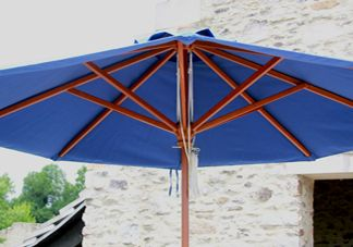 Blue Wood Market Umbrella