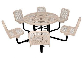 picnic table, round picnic table with chairs, commercial site furnishings