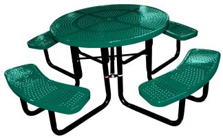round perforated picnic table