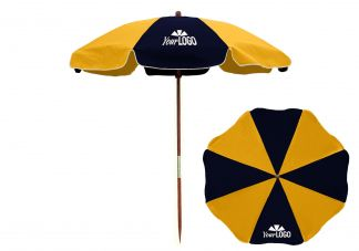 7.5 ft. Wood Beach Umbrella with Steel Ribs