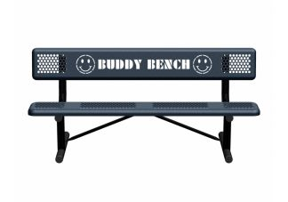 All Smiles Standard Perforated Buddy Bench with Portable Mount