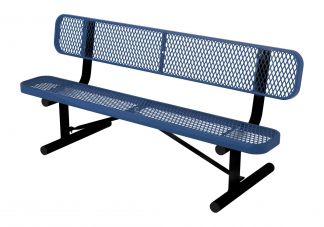 6-foot Expanded Metal Bench with Back