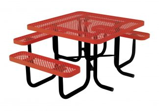46-inch Square Perforated Portable Table with Three Seats