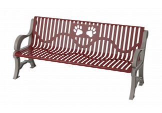 6 Dog Park Bench with Dog Paw Cutout