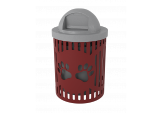 Steel Slat Dog Park Trash Can with Dog Paw Cutout