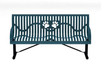 6 ft. Portable Classic Wingline Dog Park Paw Bench with Back