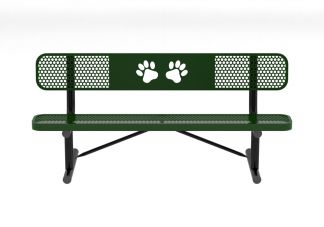 6 Perforated Dog Park Bench with Back