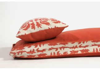 Amalfi Throw Bed - R.A. Flowing Petal Coral Reef and Sunbrella Echo Sangria