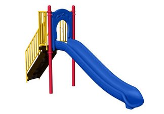 Commercial Playground 4 Freestanding Slide- Ground Spike, Primary Colors