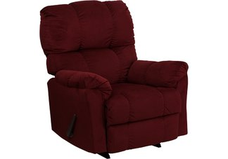 Contemporary Top Hat Berry Micro Fiber Rocker Recliner