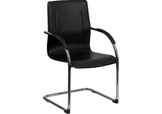 HERCULES Series Black Vinyl Side Chair  with Chrome Sled Base