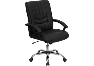 Mid-Back Black Leather Managers Chair