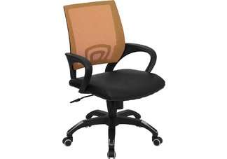 Mid-Back Orange Mesh Computer Chair with Black Leather Seat