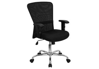 Mid-Back Black Mesh Contemporary Computer Chair with Adjustable Arms and Chrome Base
