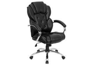 High Back Transitional Style Black Leather Executive Office Chair