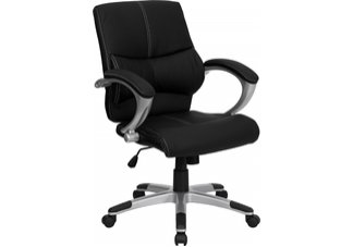 Mid-Back Black Leather Contemporary Managers Office Chair