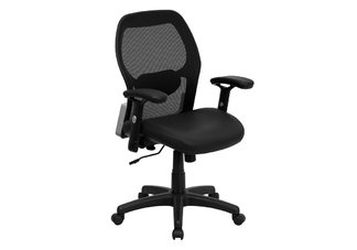 Mid-Back Super Mesh Office Chair with Black Italian Leather Seat