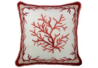 Red Coral Needlepoint Pillow