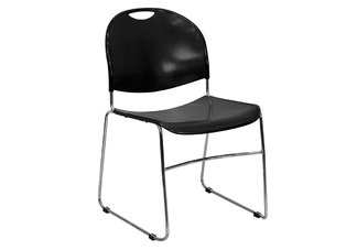 HERCULES Series 880 lb. Capacity Black High Density, Ultra Compact Stack Chair with Chrome Frame