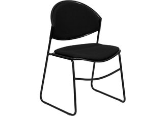 HERCULES Series 550 lb. Capacity Black Padded Stack Chair with Black Powder Coated Frame Finish