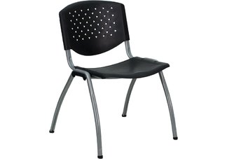 HERCULES Series 880 lb. Capacity Black Polypropylene Stack Chair with Titanium Frame Finish