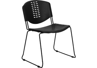 HERCULES Series 400 lb. Capacity Black Plastic Stack Chair with Black Powder Coated Frame Finish