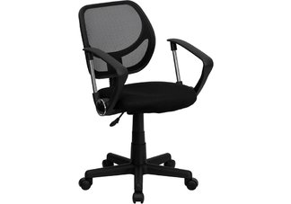 Mid-Back Black Mesh Task Chair and Computer Chair with Arms