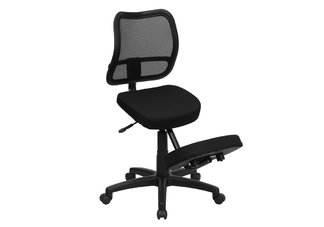 Black Fabric Ergonomic Kneeling Chair with Mesh Back