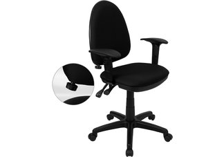 Mid-Back Black Fabric Multi-Functional Task Chair with Arms and Adjustable Lumbar Support